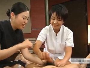 【手コキ暴発】先輩に緩急を付けたフェザータッチ系マッサージを教わるエステティシャン