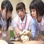 ナース達が包茎チンコをゴム手袋手コキで診察を兼ねて治療