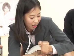 SOD新人女子社員が忘年会で手コキフェラ!