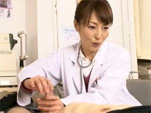 「一杯飛びましたね」精子量に不安を持つ患者を大量手コキ射精させる女医